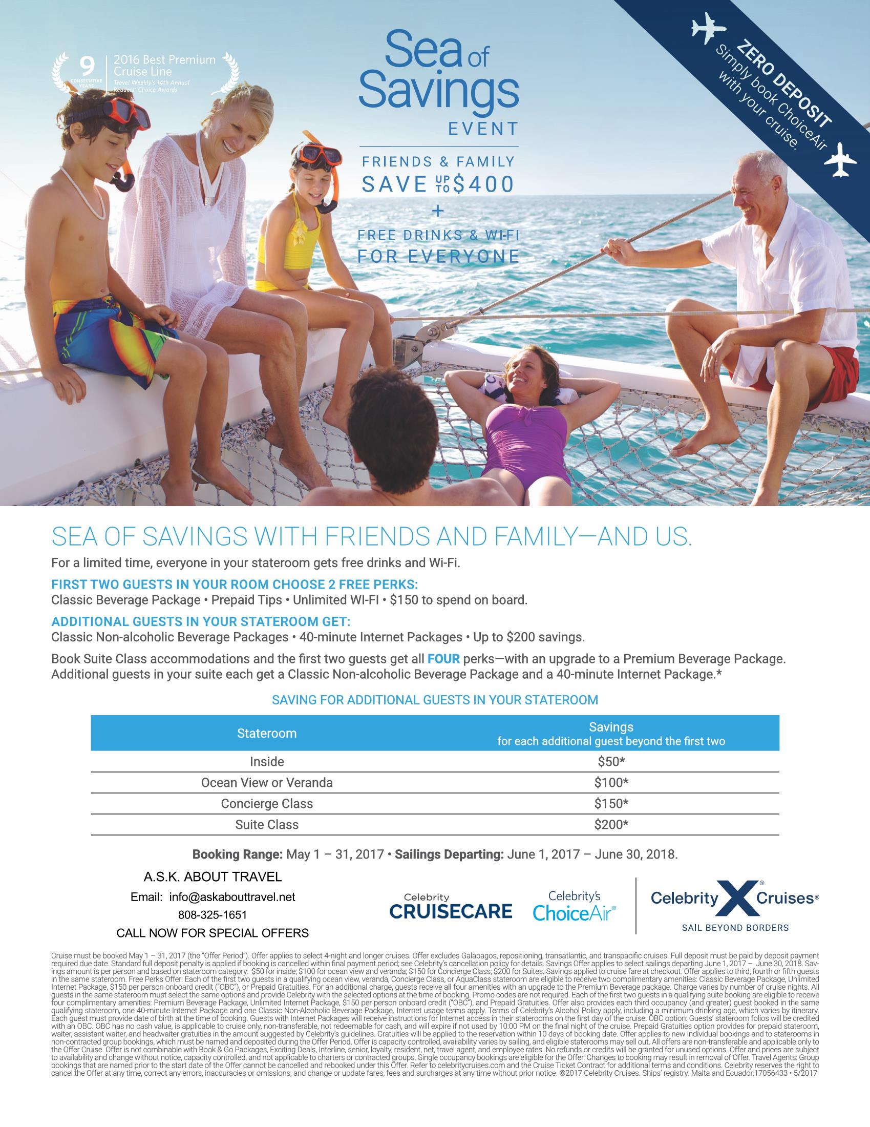Celebrity May Offers--Custom Vacations
